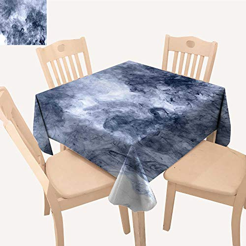 UHOO2018 Polyester Fabric Tablecloth Square/Rectangle Blue Smoke on a White backgroun Inversion Summer & Outdoor Picnics,50x 54inch