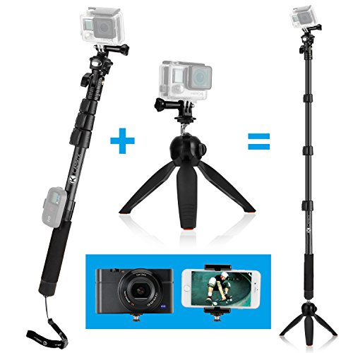 3in1 Telescopic Pole 16-47 Inch w/ Tripod Base Kit - compatible with GoPro and Smartphones