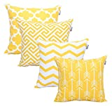 Accent Home Square Printed Cotton Cushion Cover,Throw Pillow Case, Slipover Pillowslip for Home Sofa Couch Chair Back Seat,4pc Pack 18x18' in Yellow Color