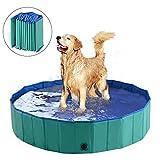PawHut 12' x 60' Collapsible PVC Pet Foldable Swimming Pool Dog Bathing Tub - Green / Blue