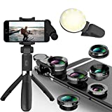 Phone Camera Lens 5 in 1 Kit -Macro Lens & 0.63X Wide Angle Lens with LED Light, Extendable Selfie Stick Tripod with Wireless Bluetooth Remote. Android, Samsung, Tablets and iPhone Lens. Photography
