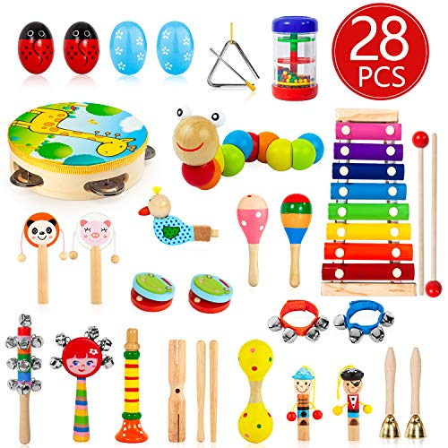 AOKIWO Kids Musical Instruments, 28Pcs 19Types Wooden Instruments Tambourine Xylophone Toys for Kids Children, Preschool Educational Learning Musical Toys for Boys Girls