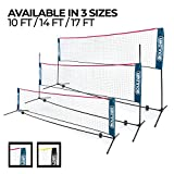 Boulder Portable Badminton Net - 14-Ft Small Net Set for Tennis, Soccer Tennis, Pickleball, Badminton- Easy Set-up Nylon Sports Net with Poles - for Indoor or Outdoor Court, Beach, Driveway