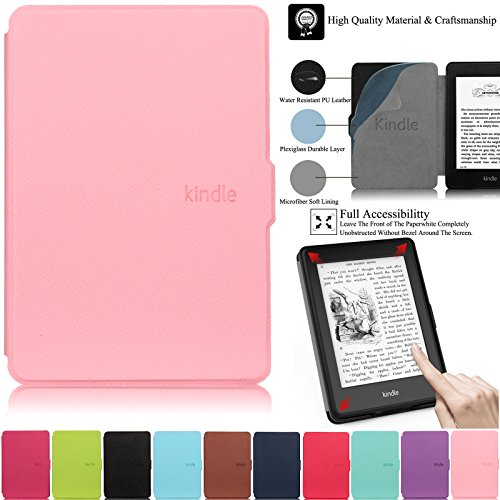 Kindle Paperwhite Case,Artyond PU Leather Case With Auto Wake/Sleep Feature Smart Cover Thinnest and Lightest Case For Amazon Kindle Paperwhite (Fits All 2012, 2013, 2015 and 2016 Versions)(pink)