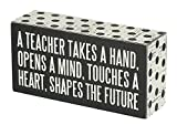 Primitives by Kathy 21495 Polka Dot Trimmed Box Sign, 3' x 6', A Teacher Shapes the Future