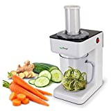 Electric Food Spiralizer Slicer Chopper - 3-in-1 Vegetable Processor, Fruit Cutter, Spiral Shredder Machine, Veggie Spaghetti Noodle, Zoodle Maker w/ 3 Cutting Blade, 1.2L Bowl - NutriChef PKESPR26