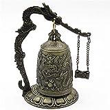 Ameesi Lock Dragon Carved Buddhist Good Luck Bell Geomantic for Meditation Altar