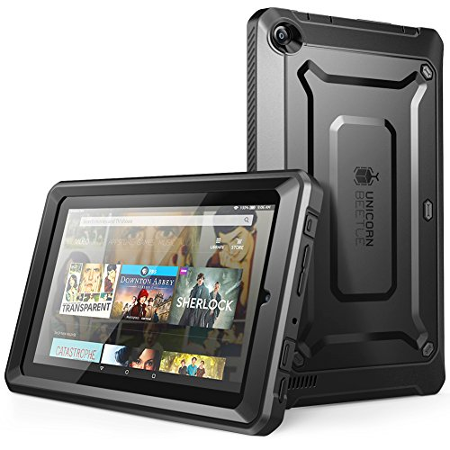 SUPCASE Fire 7 Case, [Heavy Duty] Case for 2015 Release Amazon Fire 7 Tablet 5th Generation [Unicorn Beetle PRO Series] Rugged Hybrid Protective Cover w Builtin Screen Protector (Black/Black)