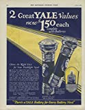 2 Great Yale Flashlight Values now $1.50 each with batteries MAGAZINE AD 1927