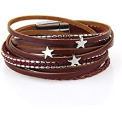 Jenia Star Multi-Layer Leather Bracelet - Braided Wrap Cuff Bangle - with Alloy Magnetic Clasp Handmade Jewelry for Women,Girl Gift
