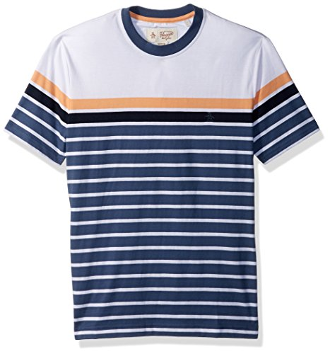 51lqLZZ7Z5L Men's t-shirt with ribbed crew neck collar Heritage slim fit - slim cut through chest, waist and arms Original Penguin logo on left of chest