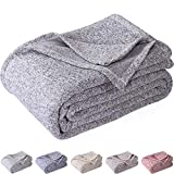 KAWAHOME Knit Summer Blanket Heather Lightweight Fuzzy Jersey Blankets All Season for Couch Sofa Bed Oversized Queen Size 90 X 90 Inches Grey and White