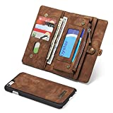 SAVYOU iPhone 6s Plus / 6 Plus Wallet Case Flip Magnetic Detachable, 2 in 1 Luxury Series Premium Vegan Leather Folio Wallet Card Holder Stand Soft PC Back Cover Brown