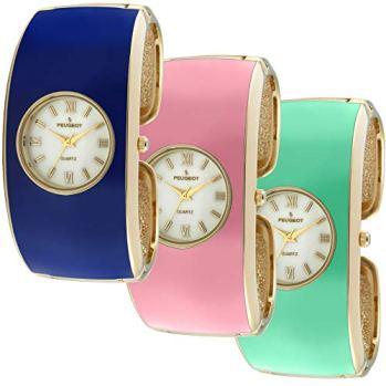 Peugeot Women's 14K Gold Plated Enamel Cuff Bangle Dress Jewelry Watch