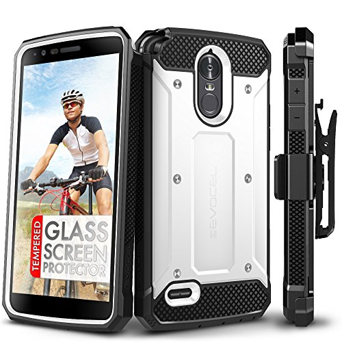 LG Stylo 3 Case, Evocel [Explorer Series] with Free [LG Stylo 3 Glass Screen Protector][Full Screen Coverage] Premium Full Body Case [Slim Profile][Belt Clip] for LG G Stylo 3 (2017 Release), White