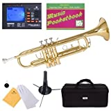 Mendini MTT-L Gold Lacquer Brass Bb Trumpet + Tuner, Case, Stand, Mouthpiece, Pocketbook & More