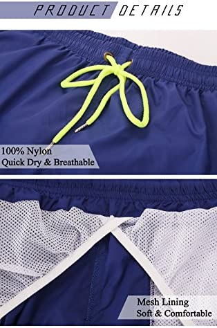 YnimioAOX Men's Swim Trunks Quick Dry Beach Shorts Swimwear Bathing Suit with Mesh Lining 5
