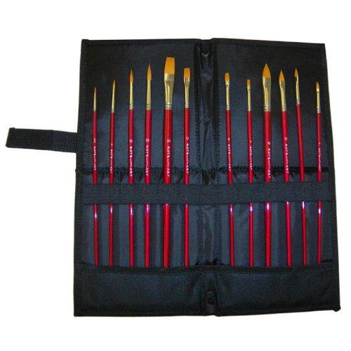 12 Künstlerpinsel Katzenzungen Spitzpinsel Flachpinsel incl. aufstellbarer Pinseltasche Pinselset für Acrylfarben oder Aquarellfarben