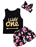 Giwawa 3Pcs Baby Girls Floral Vest Skirt Outfit Set with Headband Black