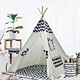 Teepee Tent for Kids Teepee Play Tent Mat for Boys Indoor Outdoor Play House Tent Indian Canvas Tipi Tent Wigwam Children Navy Chevron Tee Pee (Navy Chevron Teepee)