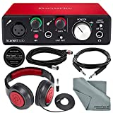 Focusrite Scarlett Solo USB Audio Interface (2nd Generation) Bundle with XLR Cable + 1/4 Inch Cable + Samson Studio Headphones + FiberTique Cleaning Cloth…