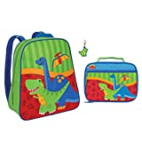 Stephen Joseph Boys Dinosaur Backpack and Lunch Box with T-Rex Zipper Pull