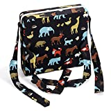 Sumnacon Chair Increasing Cushion - Baby Toddler Kids Infant Portable Dismountable Highchair Booster Cushion Washable Thick Chair Seat Cloth Strap(Black Animal)