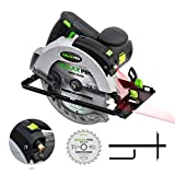Circular Saw, 12A 5500RPM Electric Saw GALAX PRO Corded Circular Saw with 7-1/4' Circular Saw Blade & Laser Guide Max Cutting Depth 2.45' (90°), 1.81' (45°) for Wood and Log Cutting_GPL12367