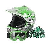 XFMT Youth Kids Motocross Offroad Street Dirt Bike Helmet Goggles Gloves Atv Mx Helmet Green Flame S