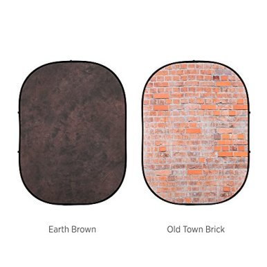Fovitec-1x-5x65-Earth-BrownOld-Town-Brick-Double-Sided-Pop-Out-Muslin-Backdrop-Professional-GradeCollapsible-BackgroundBag-Included