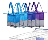 Reusable Shopping Cart Bags and Grocery Organizer Designed for Trolley Carts by Modern Day Living … (Green) (Purple Blue Blue Blue)