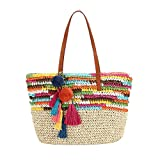 Daisy Rose Large Straw Beach Tote Bag with Pom Poms and Inner Pouch...