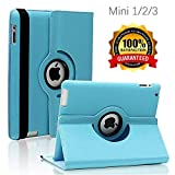 iPad Mini 1/2/3 Case - 360 Degree Rotating Stand Smart Cover Case with Auto Sleep/Wake Feature for Apple iPad Mini 1 / iPad Mini 2 / iPad Mini 3 (Sky Blue)