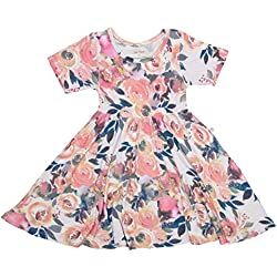 PoshPeanut Baby Twirl Dress - Infant Girl Clothes - Viscose from Bamboo (Dusk Rose, 12-18 Months)