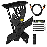 VonHaus Electric Motorized Flip Down Pitched Roof Ceiling TV Mount Bracket for 23-55' Screens - Full Installation Bundle with Remote Control - Max Weight Capacity 66lbs Max VESA 600 X 400