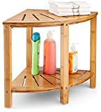 Bamboo Corner Stool Shower Bench - Wood Spa Bench with Storage Shelf for Bathroom Organization | Perfect for Indoor or Outdoor