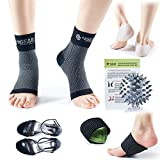 4GEAR Plantar Fasciitis Pain Relief Recovery Kit – 9 Pack- Foot Compression Sleeves, Heel Protectors, Cushioned Arch Support Wraps & Inserts, Foot Massage Ball- Instruction Guide Included (S/M)