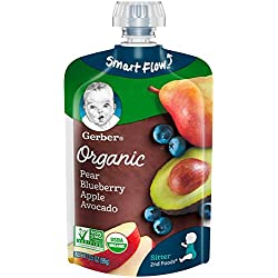 Gerber Organic 2nd Foods Baby Food, Pears, Blueberries, Apples & Avocado, 3.5 oz Pouch, 12 count