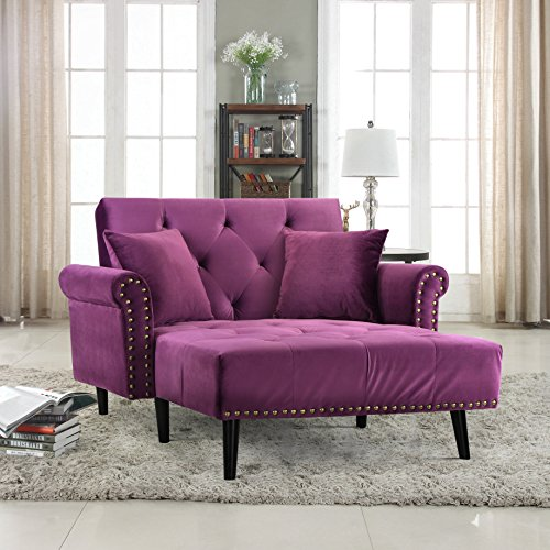 Divano Roma Furniture Modern Velvet Fabric Recliner Sleeper Chaise Lounge - Futon Sleeper Single Seater with Nailhead Trim (Purple)