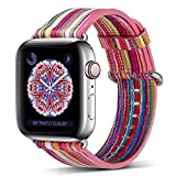 Compatible Apple Watch Band 38mm/40mm,Pierre Case Genuine Leather iwatch Strap Replacement Bands with Stainless Metal Clasp Compatible iWatch Series 4 &3 & 2 & 1 Edition Women Girl (Pink D)
