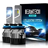 BEAMTECH H11 LED Headlight Bulb,30mm Heatsink Base CSP Chips 10000 Lumens H8 H9 6500K Xenon White Extremely Super Bright Conversion Kit of 2