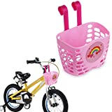 Mini-Factory Kid's Bike Basket Pink Cute Love Rainbow Pattern Bicycle Handlebar Basket for Girls