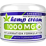 Pain Relief Hemp Cream 1000 Mg - Emu Oil, Arnica, MSM, Turmeric - Hemp Extract Cream for Inflammation & Sore Muscles - Natural Joint, Arthritis & Back Pain Support - Made in USA