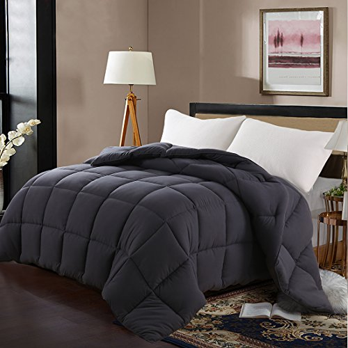 EDILLY Luxury Down Alternative Quilted Queen Comforter-Stand Alone Comforter for Queen Size Bed,Year Round Duvet Insert with 4 Corner Tabs,88''x 88'',Dark Grey