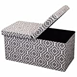 Otto & Ben 30' Storage Ottoman Folding Toy Box Chest with Smart Lift Top Mid Century Upholstered Bench Foot Rest for Bedroom and Living Room, Moroccan Grey