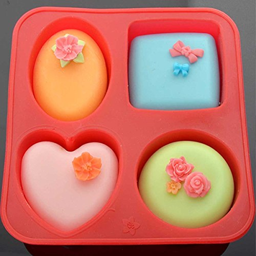 51m2FGS6c0L - Bulfyss Silicone Circle, Square, Oval and Heart Shape Soap Cake Making Mould, Multicolor