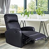 Giantex Manual Recliner Chair PU Leather Padded Seat Modern Chaise Couch Lounger Sofa for Living Room, with Foldable Footrest Design, Black