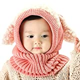 iHomey Baby Girls Boys Toddler Winter Hat Scarf Set Cutest Earflap Hood Warm Knit Hat Scarves with Ears Snow Neck Warmer Cap for Kids 6-36 Months (Pink)