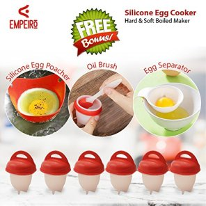 Egg-cooker-hard-and-soft-silicone-egg-poachers-hard-boiled-eggs-without-shell-egglettes-egg-cups-AS-SEEN-ON-TV-6-pieces-No-shell-plus-bonus-gift-by-Empeiro