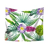 Tropical Flowers Green Leaf Tapestry, Fashion design, Unpara Wall Furniture Bedspreads Shower Curtains for Home Decor (C)